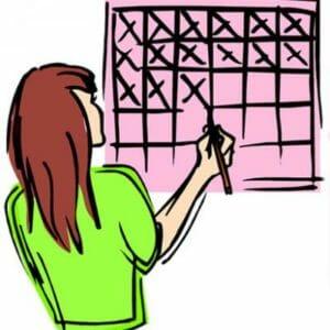 Нарисованная девушка и календарь
