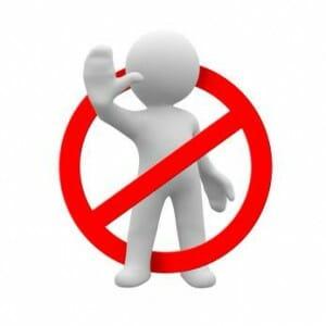 Человечек и знак запрета