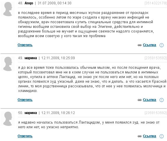 Отзывы о геле для интимной гигиены