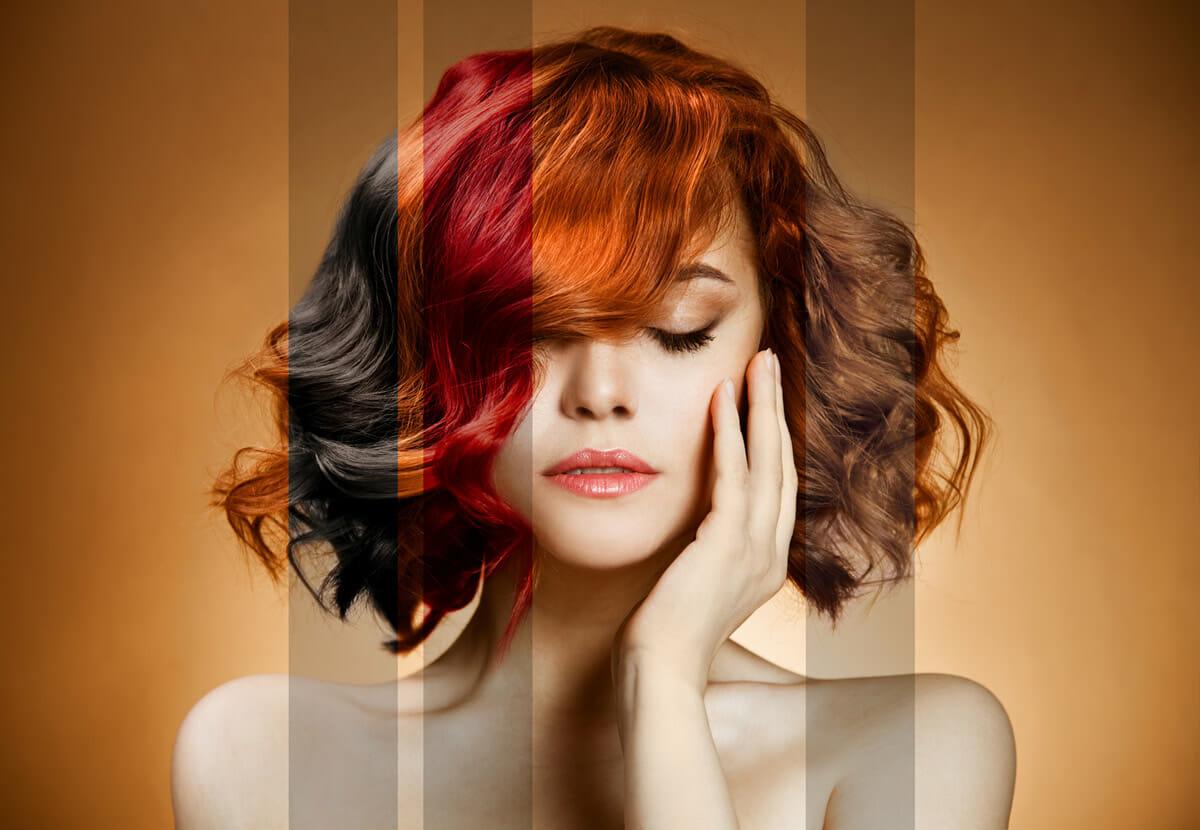 Девушка с разными волосами